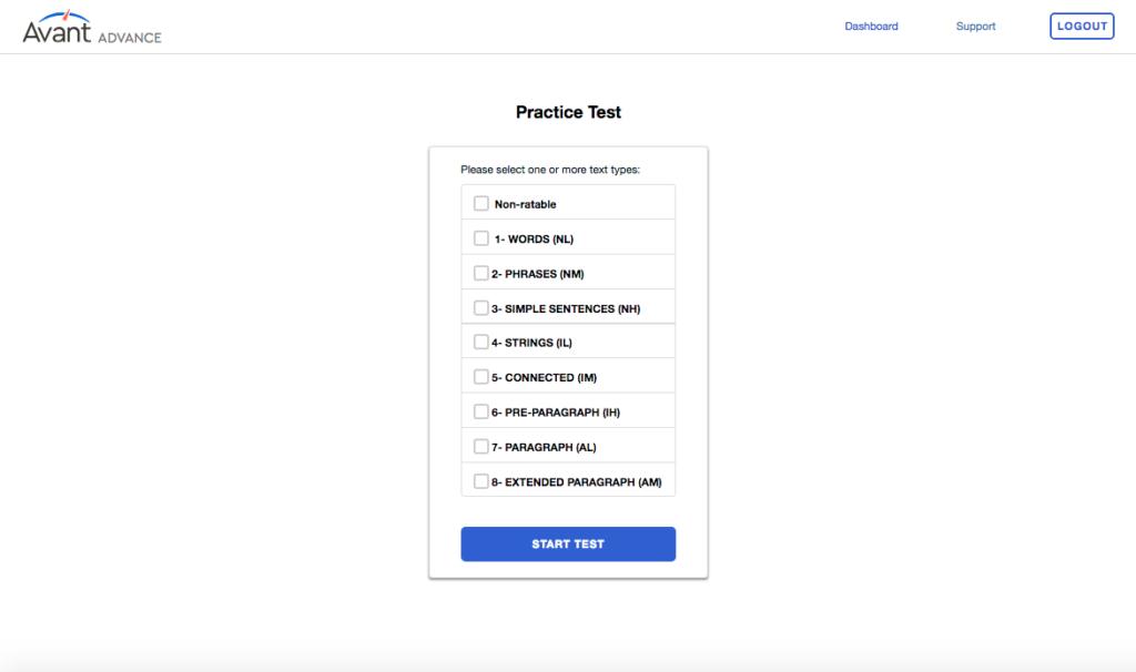 A screenshot of Avant Advance's practice test selector interface