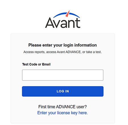 Screenshot of the Avant Assessment ADVANCE login interface
