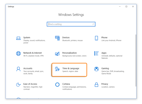 Time and Language Settings When Using Windows 10 while taking an Avant Assessment Language Proficiency Test