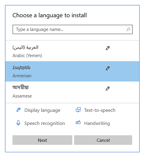 How to install Armenian when using Windows 10 while taking an Avant Assessment Language Proficiency Test