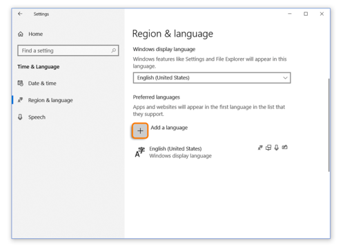 How to add a language to Region and Language Settings when using Windows 10 while taking an Avant Assessment Language Proficiency Test
