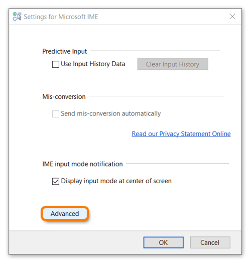 How to use IME input mode notification when using Windows 10 while taking an Avant Assessment Language Proficiency Test