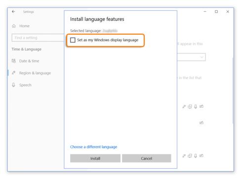 Set as Widows display language when using Windows 10 while taking an Avant Assessment Language Proficiency Test