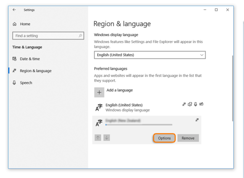 Click on Options in the Region & language setting to select added language when using Windows 10 while taking an Avant Assessment Language Proficiency Test